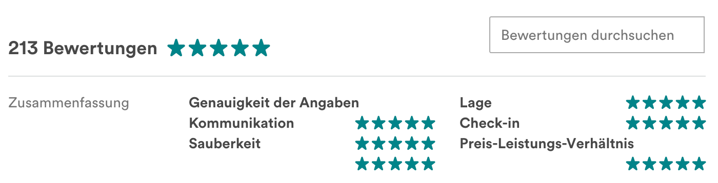 Reviews section on Airbnb in German
