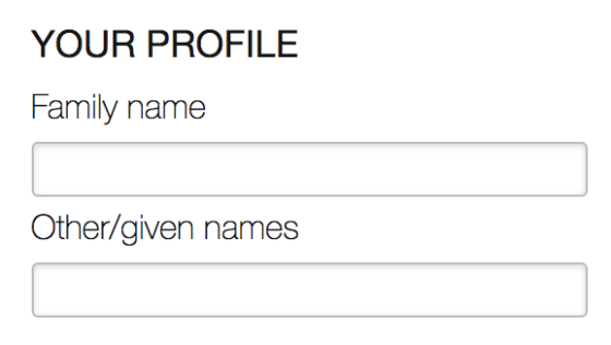 Two form fields for family and given name