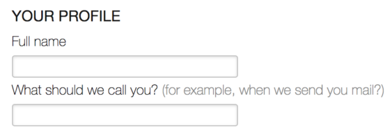 One free-form text field for the user's name