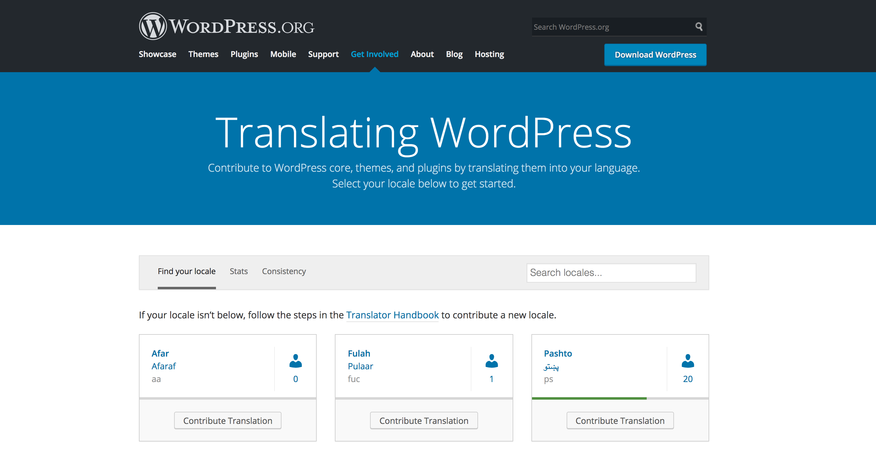 Screenshot of translate.wordpress.org