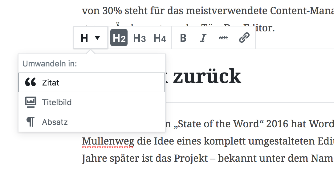 WordPress Gutenberg Heading Toolbar
