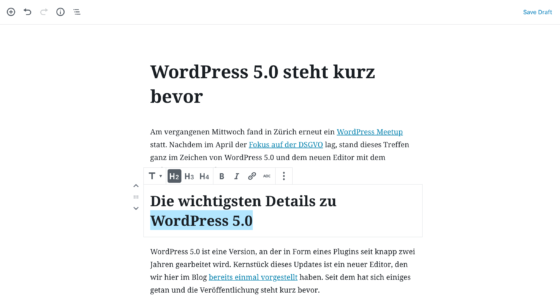 Screenshot des neuen Editors in WordPress 5.0.