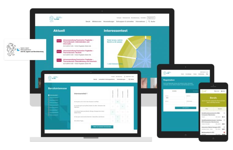 Das Berufswahl Portal dargestellt auf verschiedenen Devices, Desktop, Laptop, Tablet, Phone