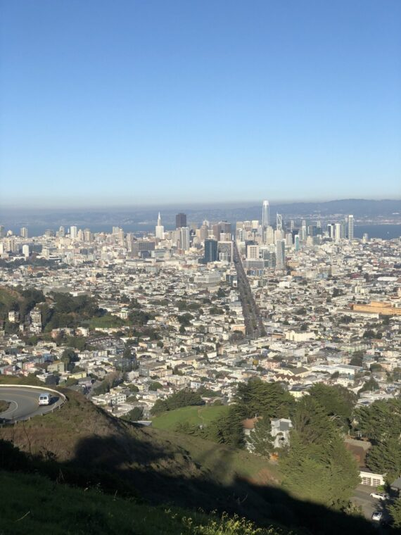 The view of the city of San Francisco from Twin Peaks