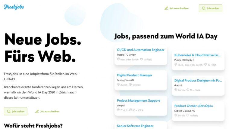 Screenshot of the Job-Landingpage