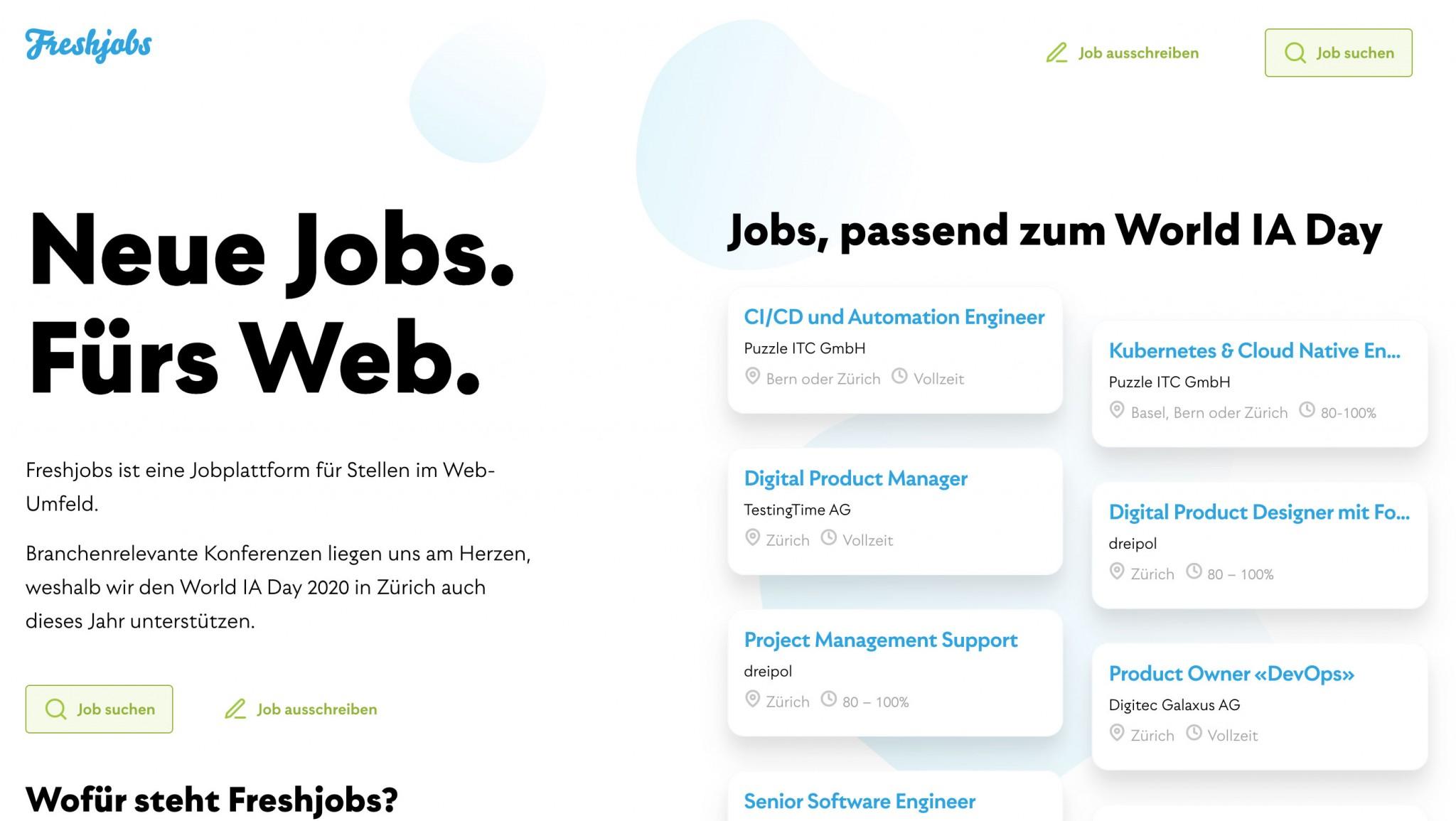 Screenshot der Job-Landingpage von Freshjobs für die Front Conference Zurich