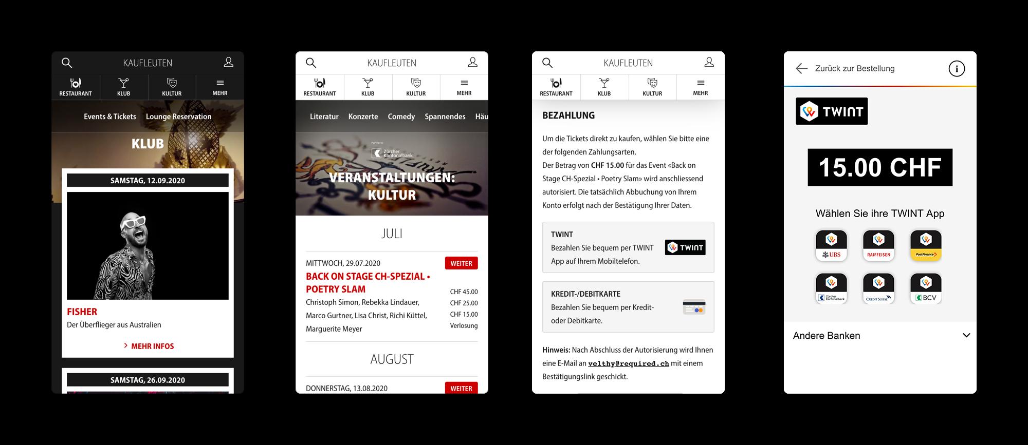 Screenshots Kaufleuten mobile Website