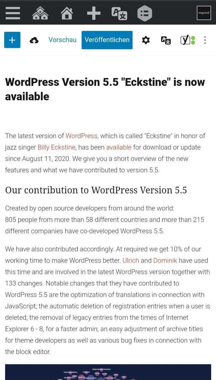 Gutenberg Editor on mobile