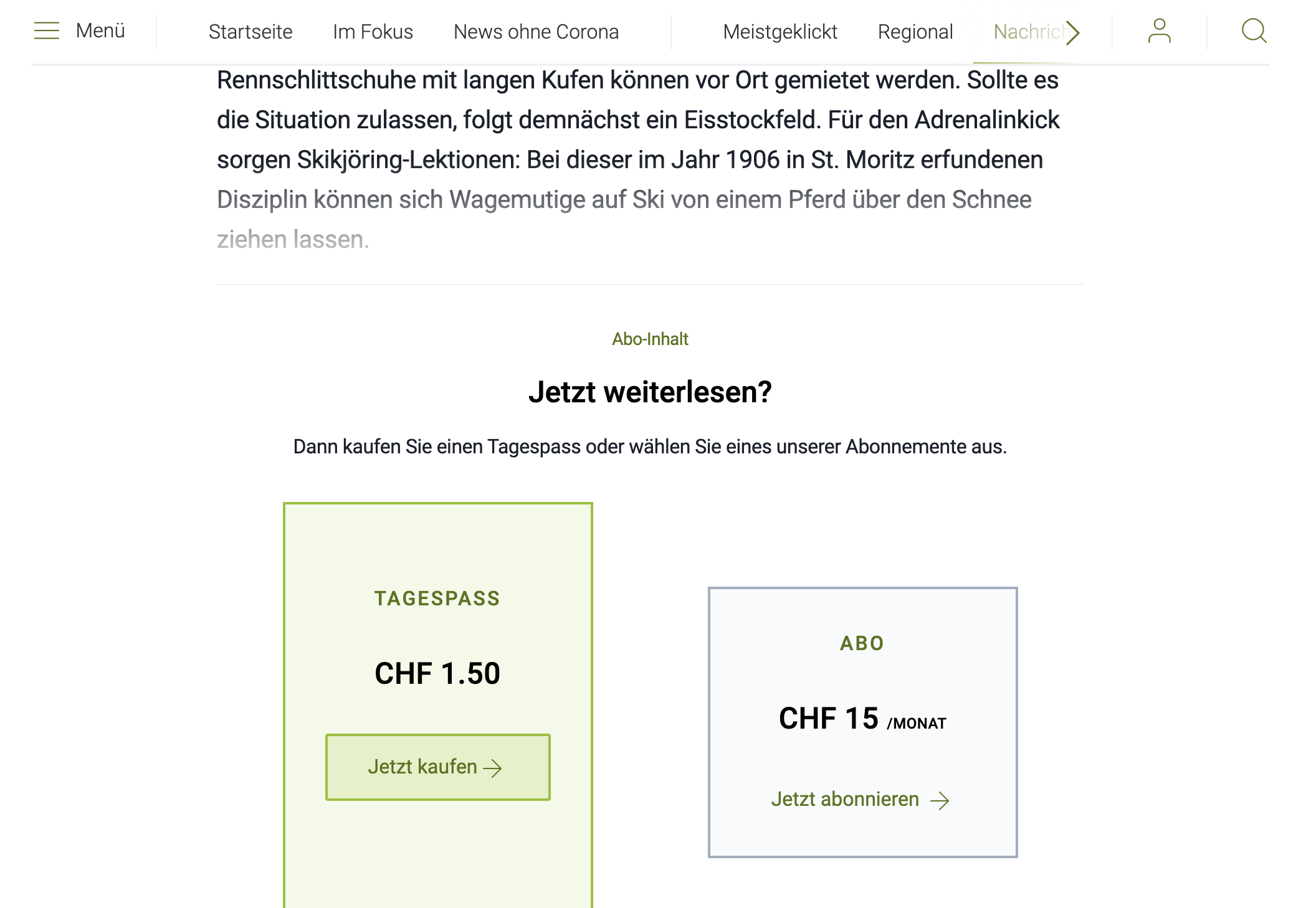 Screenshot Article Paid Südostschweiz