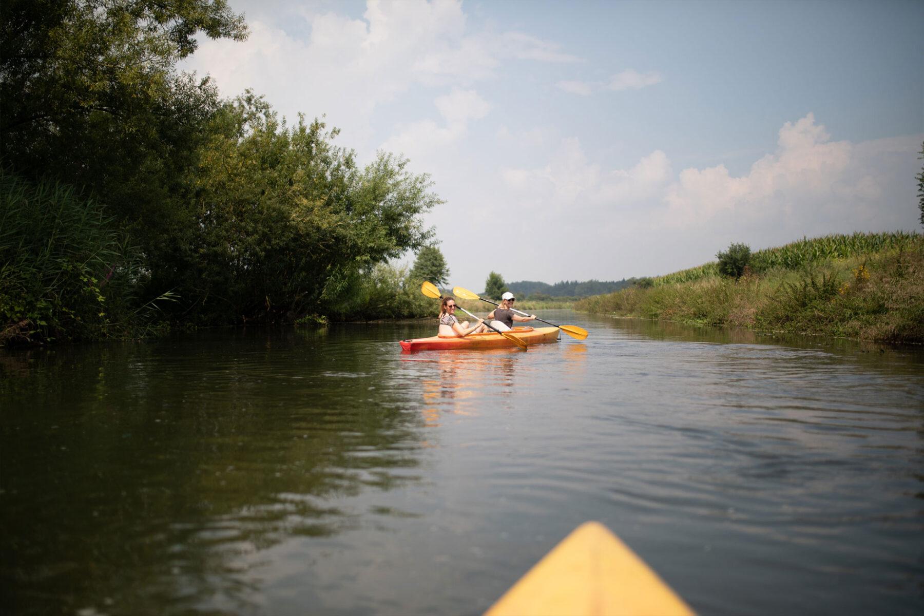 Corina and Karin Kayaking